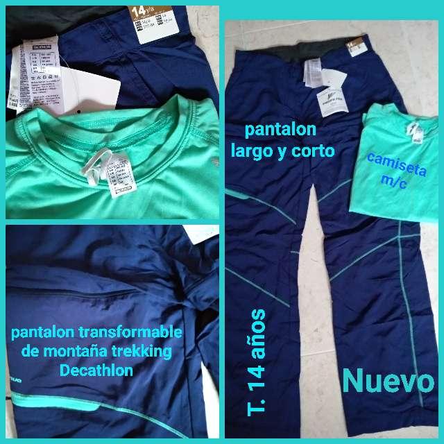 Imagen Pantalón desmontable trekking y camiseta 14 años