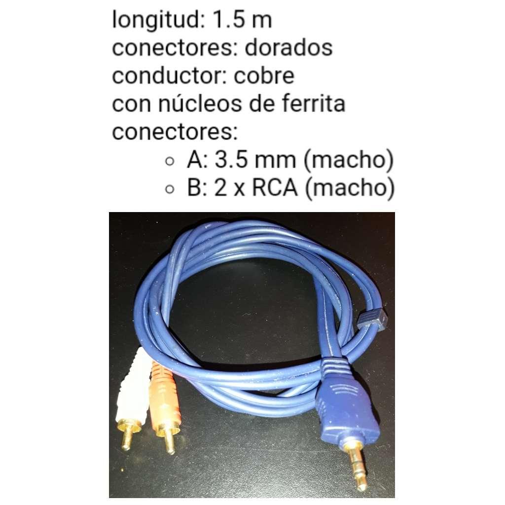 Imagen Conector estéreo macho de 3.5 mm a 2 x conector rca audio macho