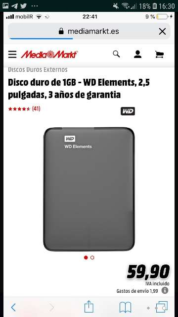 Imagen producto Disco duro WD Elements 3