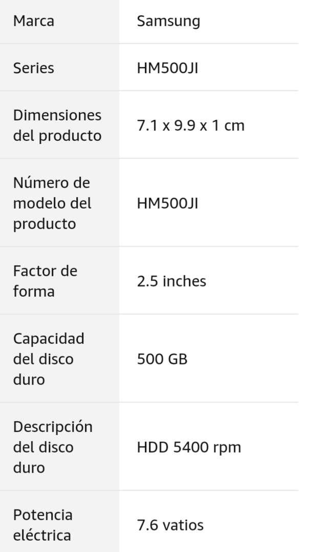 Imagen producto Disco Duro 2.5 Sata 500Gb Samsung 4