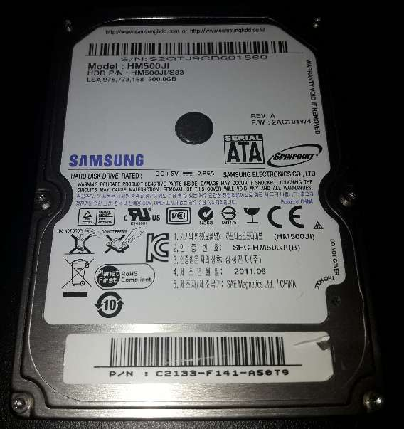 Imagen Disco Duro 2.5 Sata 500Gb Samsung