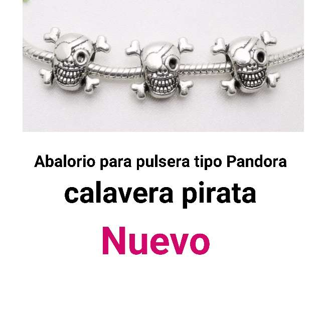 Imagen Abalorio pulseras tipo Pandora. calavera pirata. Nuevo.
