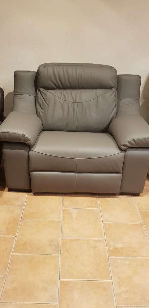 Imagen sillón relax nuevo piel gris automático