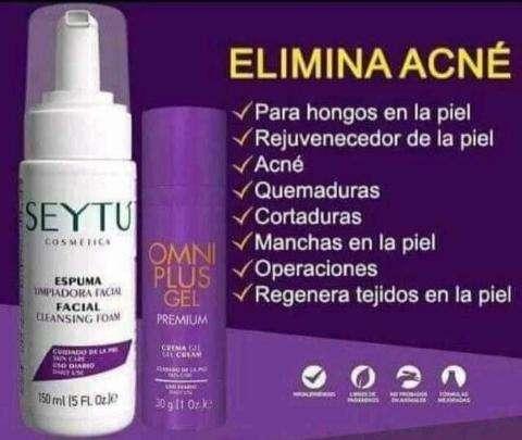 Imagen Elimina el  acné con la espuma limpiadora facial seytu y el omni plus gel
