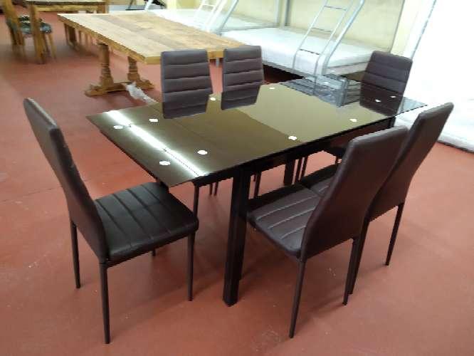 Imagen producto Oferta en mesas nuevas cuatro o seis sillas!! blanco,negro o wengué 3