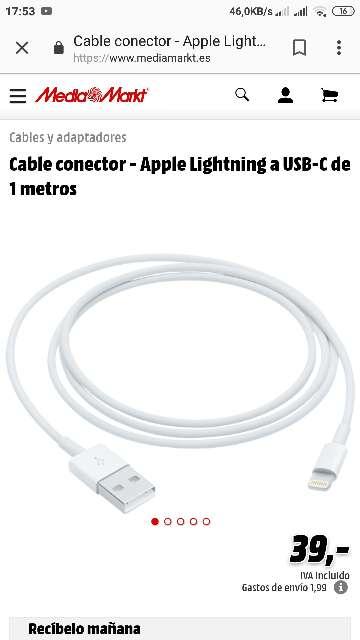 Imagen producto Cable iPhone original Garantía 1año 4