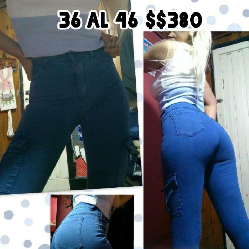 Imagen Vendo JEANS CARGO  #ELASTIZADOS Y #TIRO_ALTO Color:claro y negro  talles 36 al 46 $380 c/u