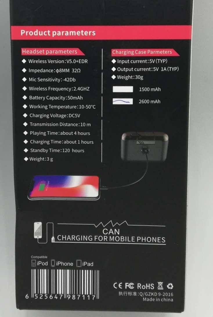 Imagen producto Cascos inalámbricos 5.0, 2.600 mAh 5