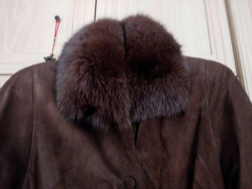 Imagen producto Abrigo piel ante marrón,cuello piel zorro autentic 2