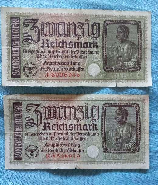 Imagen Antiguo Billete Alemán 20 Marcos 1939-45.