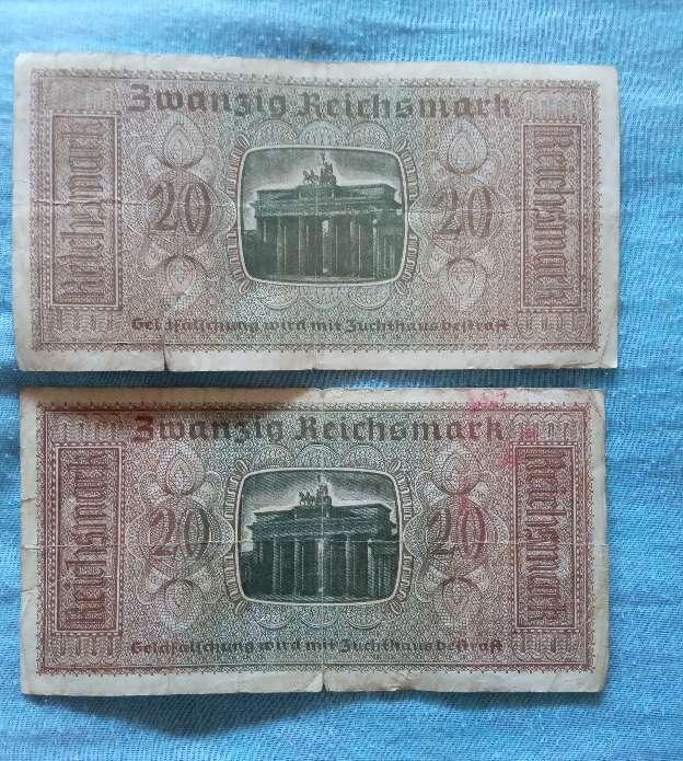 Imagen producto Antiguo Billete Alemán 20 Marcos 1939-45. 2