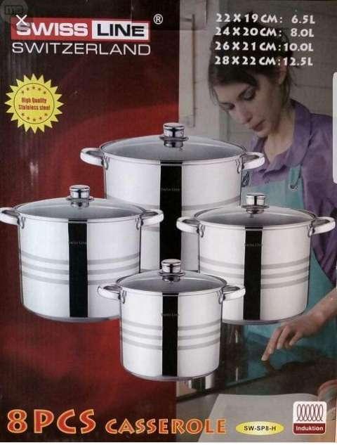 Imagen juego de ollas de 4 piezas de acero inoxidable de la marca swiss line!!!