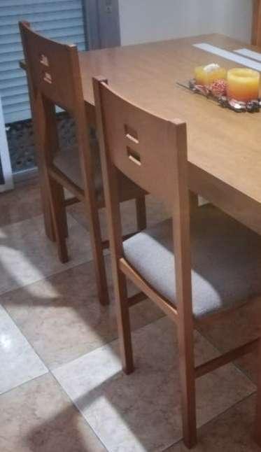 Imagen producto Mesa extensible y cuatro sillas haya  3