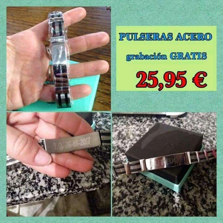 Imagen Pulsera acero grabable 22cm