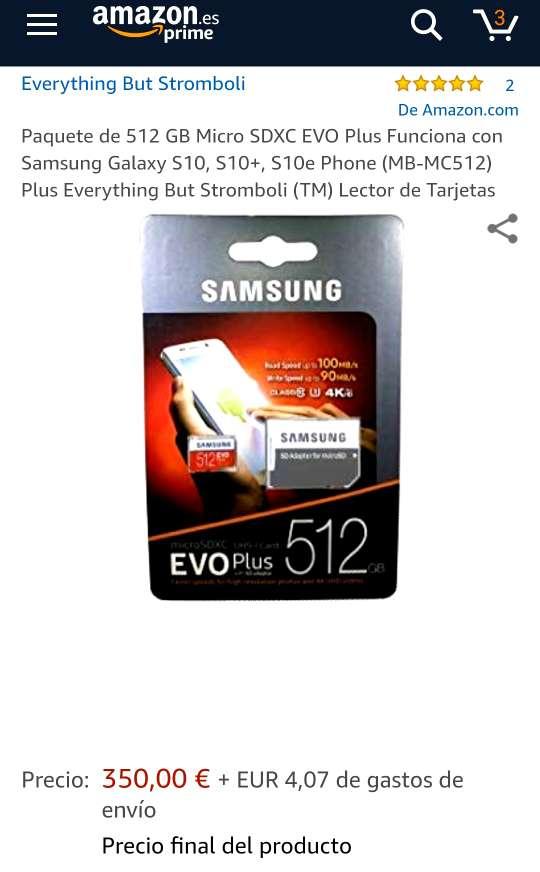 Imagen producto SAMSUNG EVO Plus 512GB Nueva Precintada 2