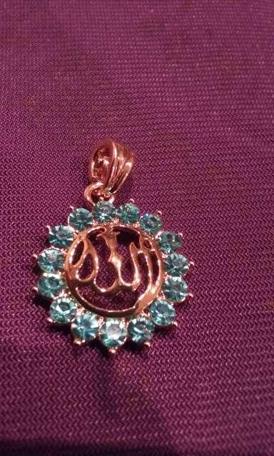 Imagen colgante de allah plateado y circonitas azul tengo mas modelos y anillos pulseras pendientes...consultame 640329809