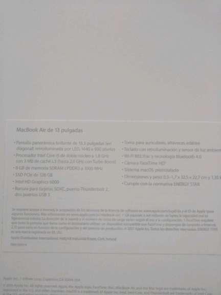 Imagen producto MacBook air 13 pulgadas  7