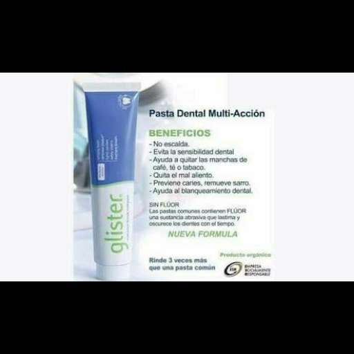 Imagen Glister.. multi-action fluoride toothpaste. pasta dentalde acción múltiple con fluoruro.