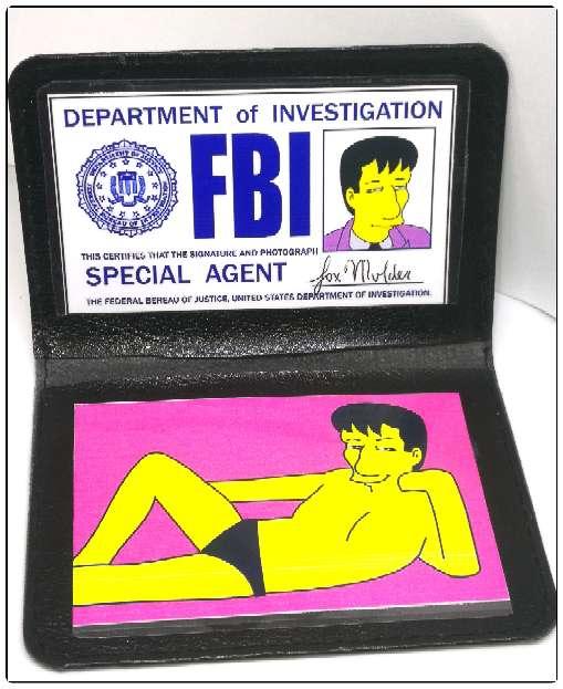 Imagen Acreditación de Mulder en los Simpsons.