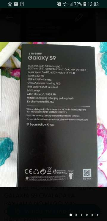 Imagen samsung Galaxy S9 plus nuevo