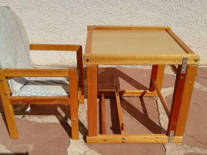 Imagen producto Trona clásica de madera convertible en sillita y mesa.  2