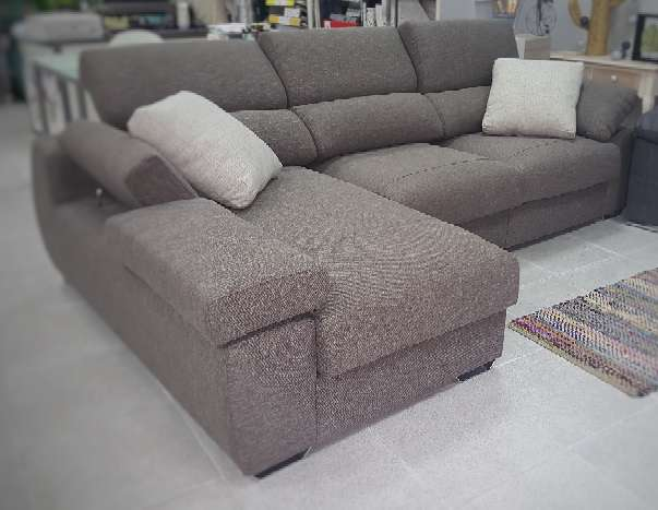 Imagen Sofa chaiselongue cama antimanchas chocolate