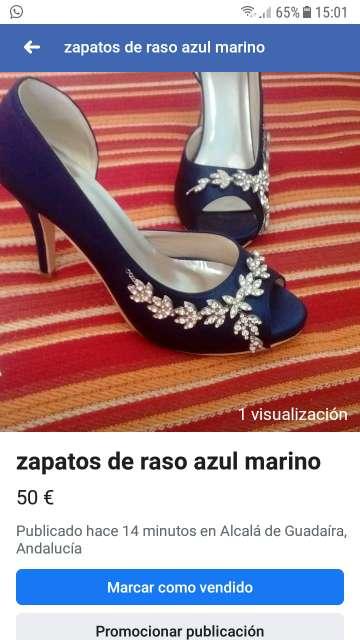 Imagen zapatos azul marino de razo