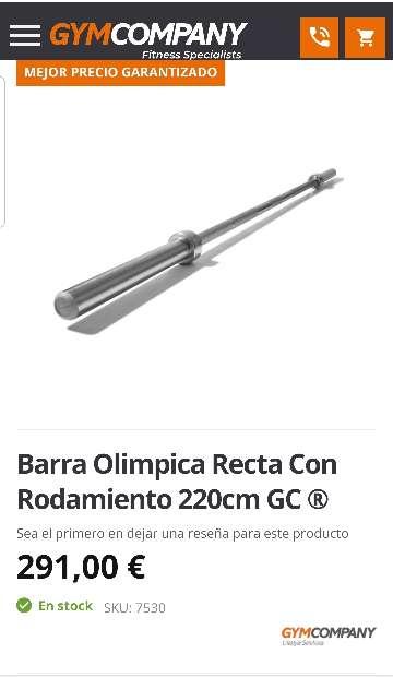 Imagen Barra olímpica de 2,2m + 80kg en discos olímpicos