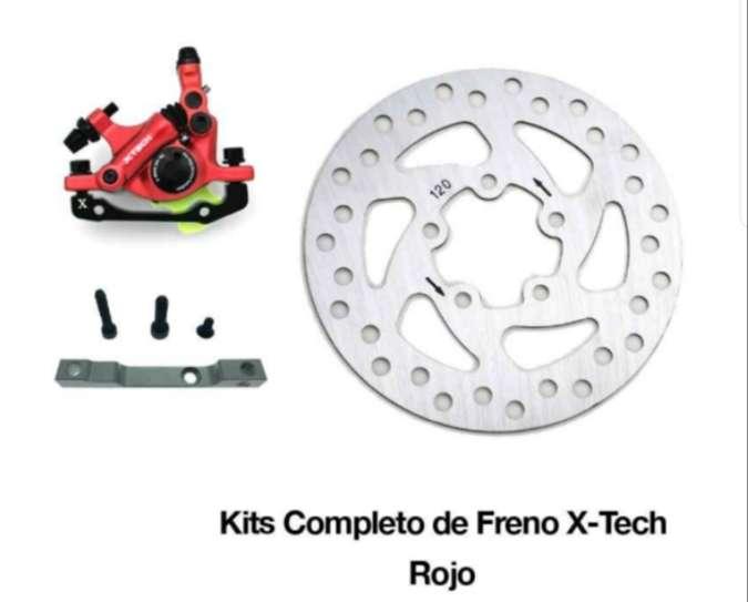 Imagen Kit frenos xtech semihidraulico con disco 120mm Xiaomi m365/pro