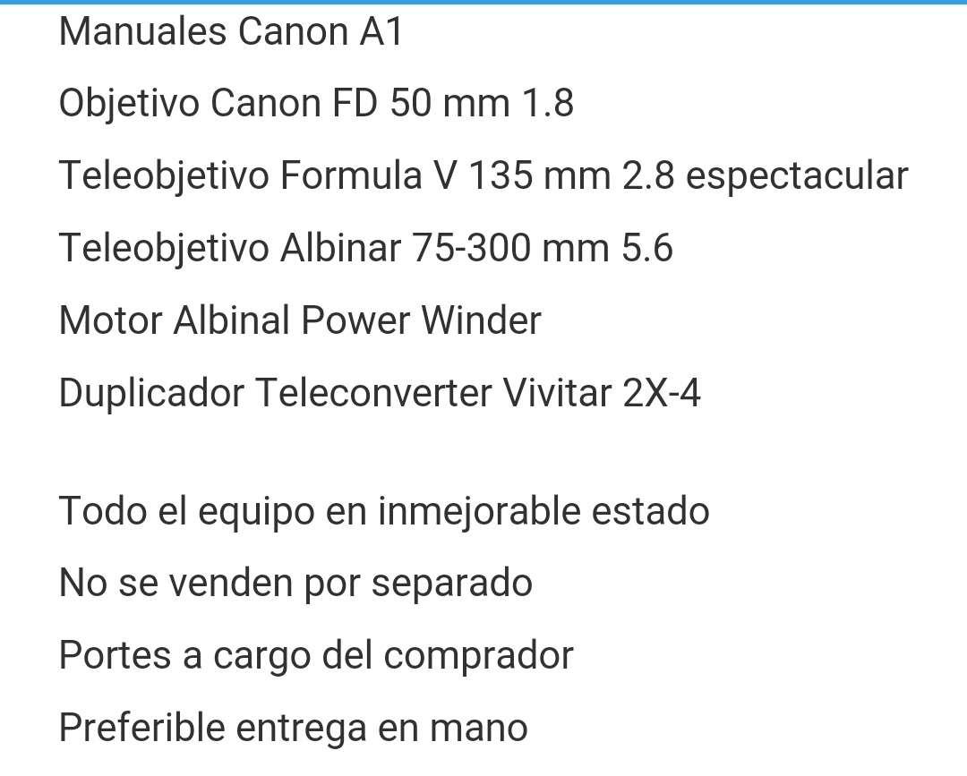 Imagen producto Equipo completo cámara Canon A1 , objetivos y accesorios. 2