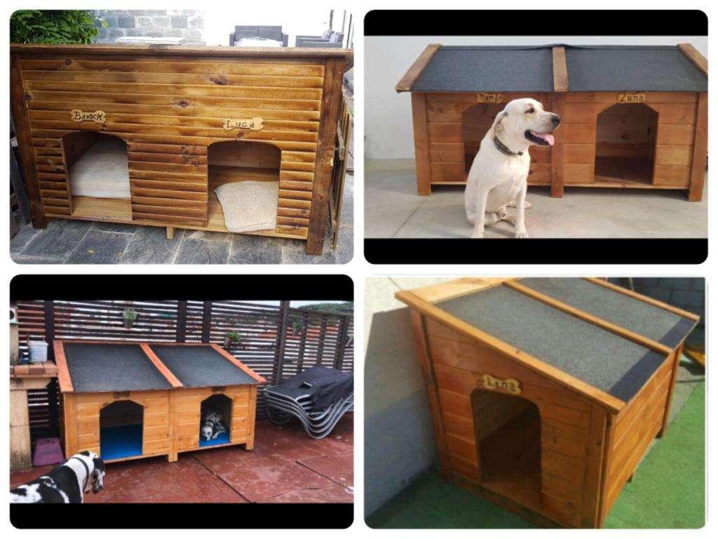 Imagen producto Caseta de madera para dos perros grandes  2