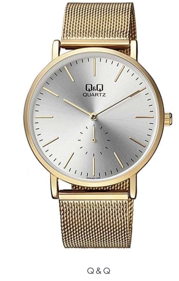 Imagen Reloj Q&Q Caballero Ref. QA96j001y Dorado Pulso en malla En Acero Inixidable Original