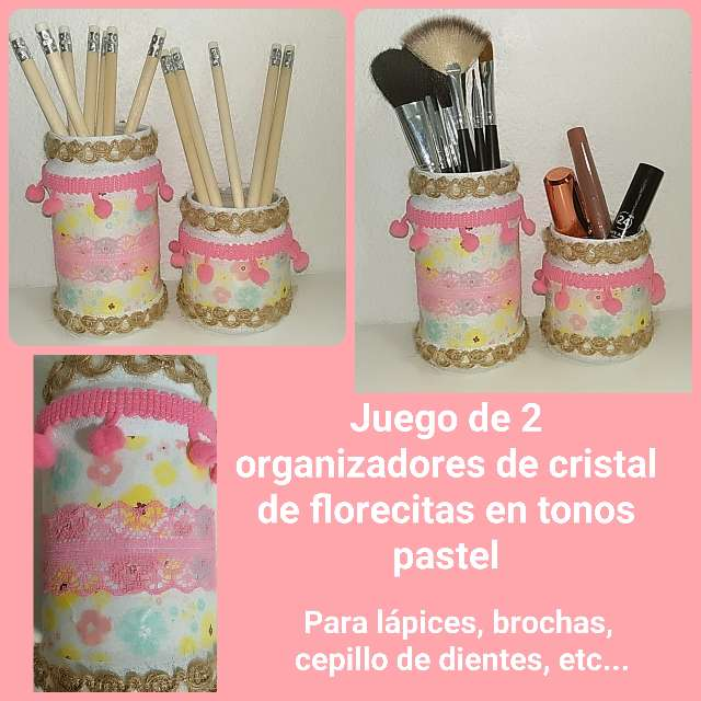 Imagen 2 organizadores de cristal florecitas en tonos pastel