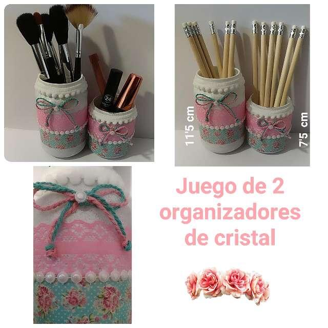 Imagen Juego de 2 organizadores flores blanco, mint y rosa