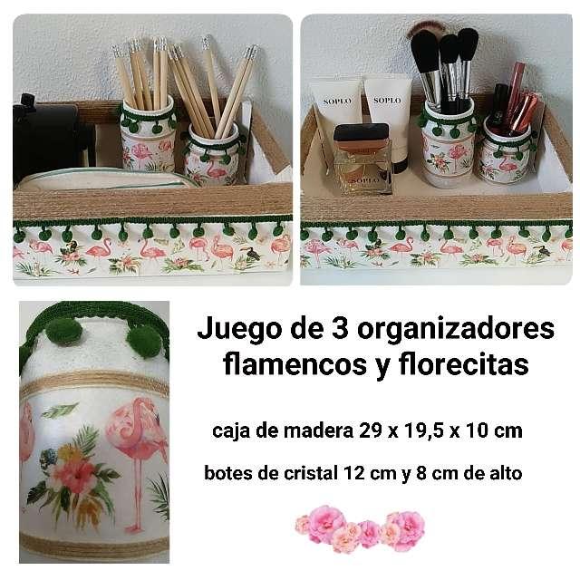 Imagen 3 organizadores estilo tropical con flamencos