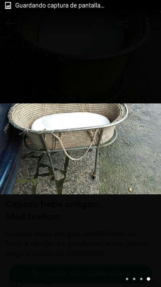 Imagen producto Capazo bebe antiguo.56x85x49cm.ver fotos 4