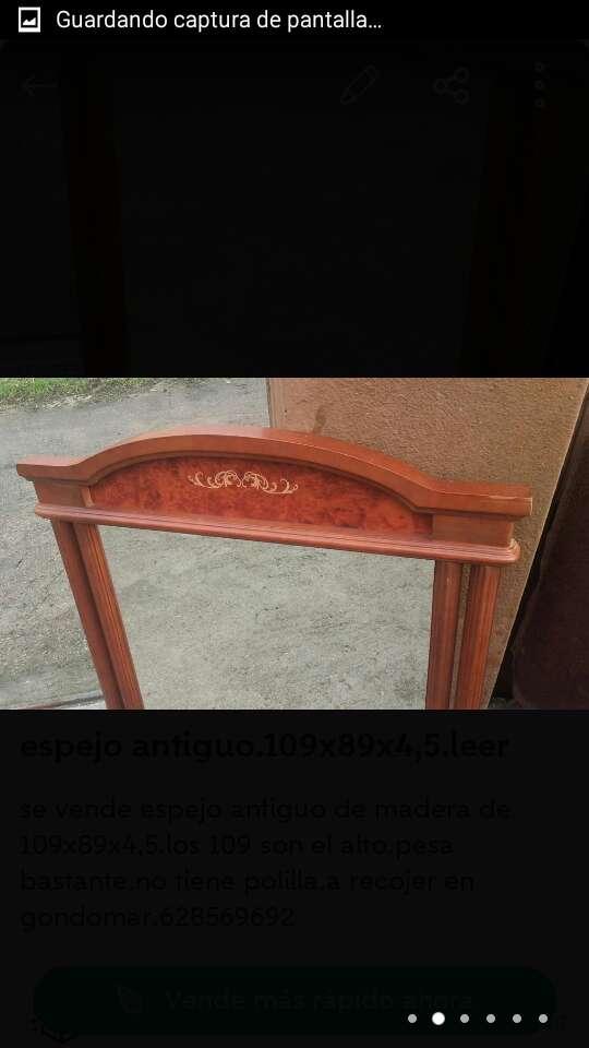 Imagen producto Espejo antiguo madera de 109x89x4,5. 2
