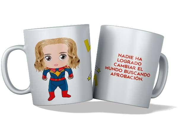 Imagen tazas personalizadas y originales, capitana Marvel