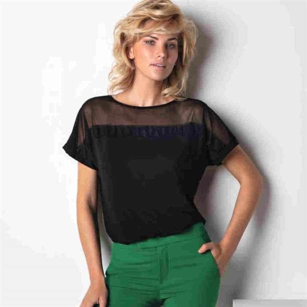 Imagen producto Camiseta con transparencia cotonella  1