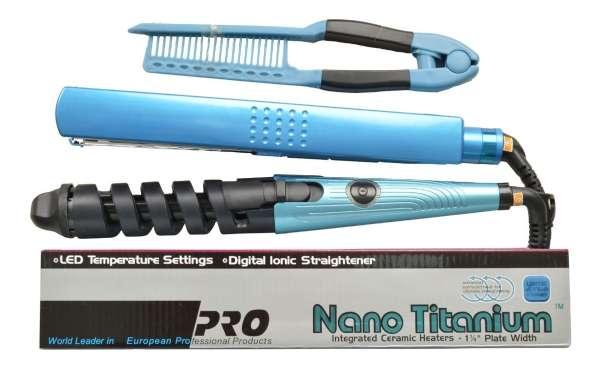 Imagen Combo plancha 1 1/4 nanotitanium digital + rizador + peine