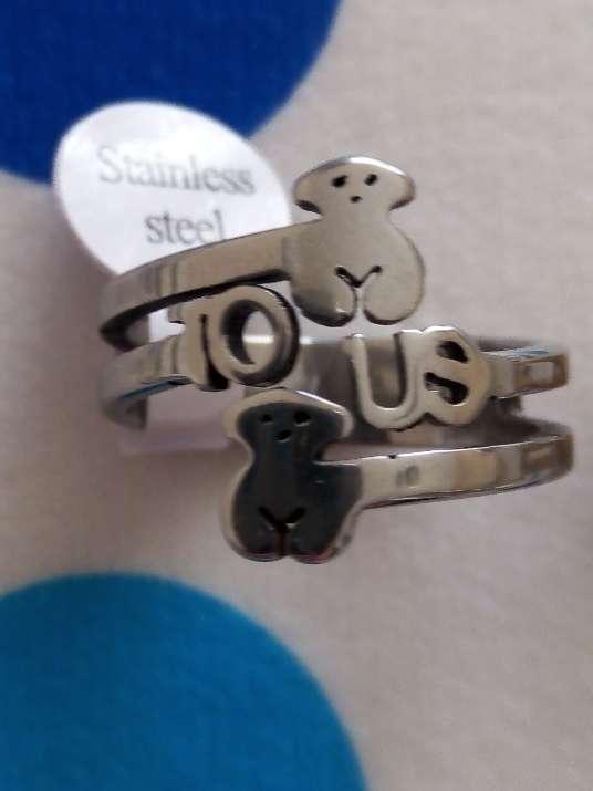 Imagen producto Anillos de acero osito tipo Tous 6
