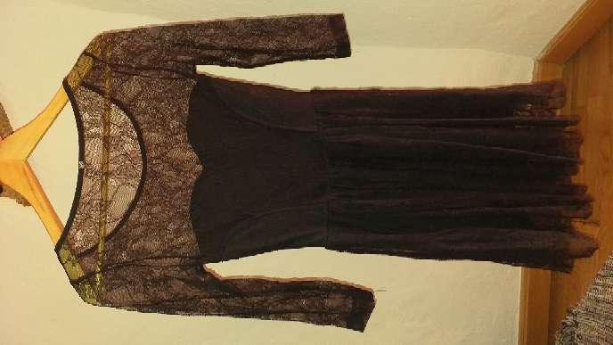 Imagen vestido de noche en gasa bordada talla s