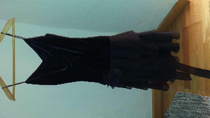 Imagen producto Vestido de gasa y terciopelo negro talla 38 corte inglés  2