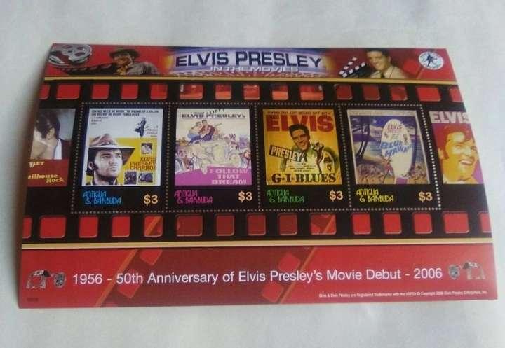 Imagen Bloque de 4 sellos Elvis Presley carteles de sus películas.