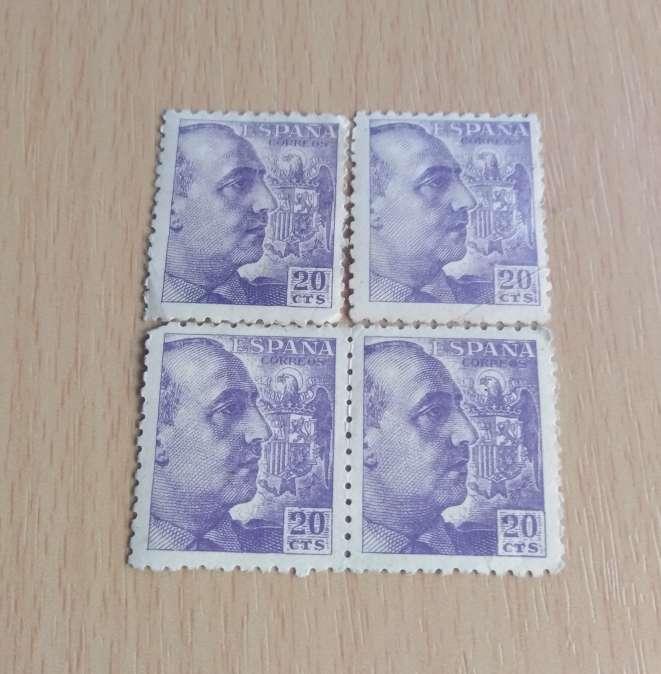 Imagen F. Franco 4 sellos 20 cts antiguos.