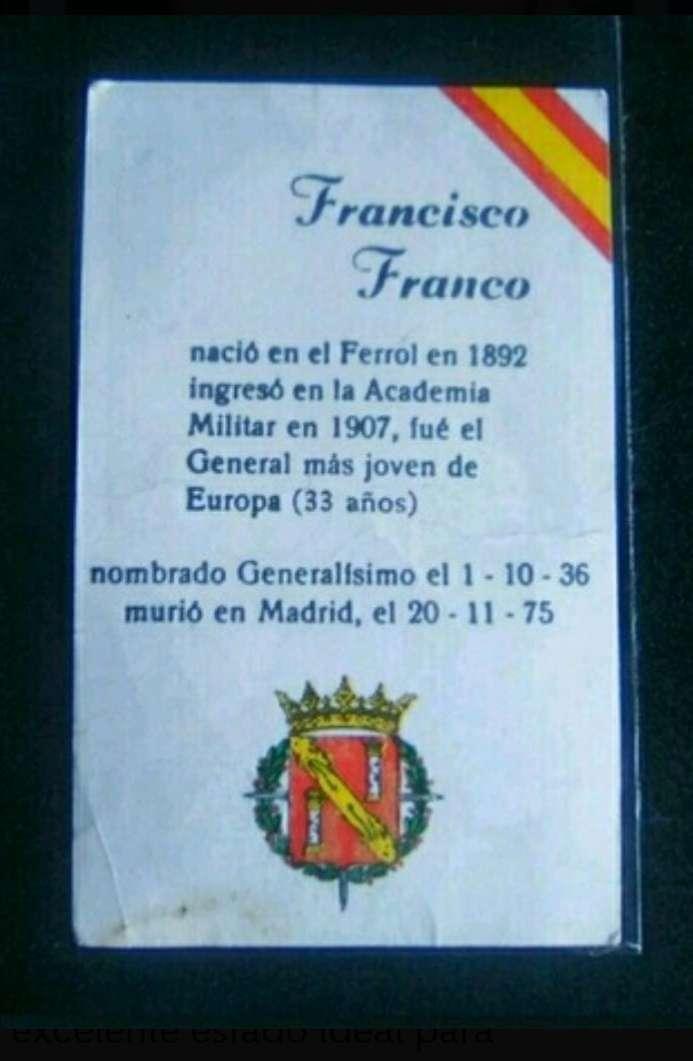 Imagen producto Cromo antiguo F. Franco.  2