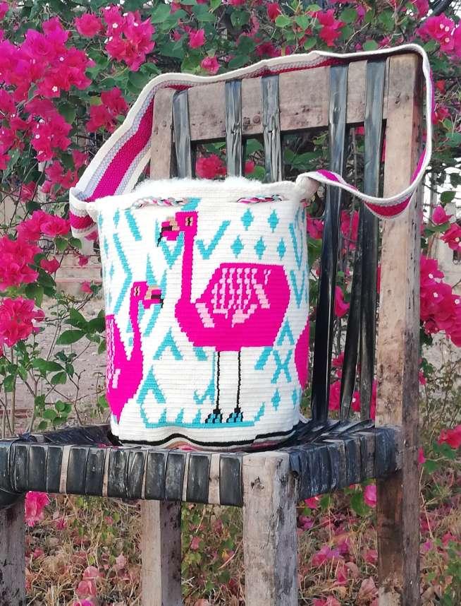 Imagen Mochila Wayuu Flamenco Rosado