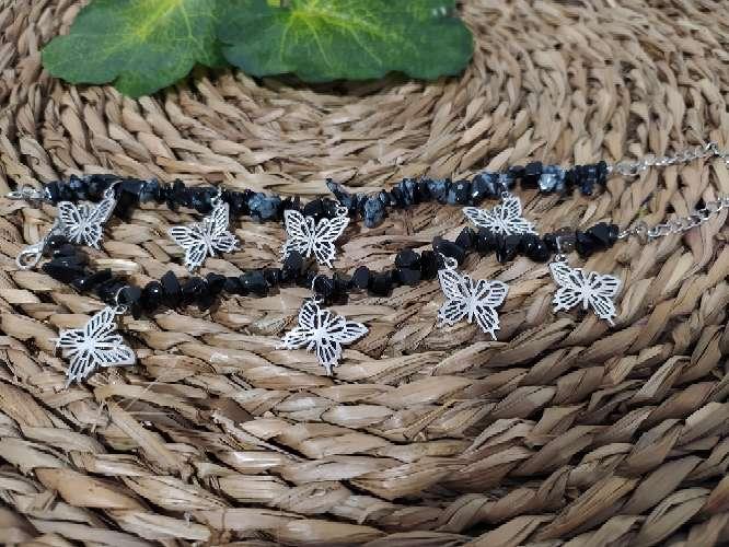 Imagen Tobilleras de obsidiana y mariposas