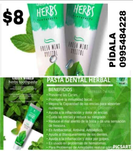 Imagen Pasta Dental GREEN WORLD HERBS de HGW
