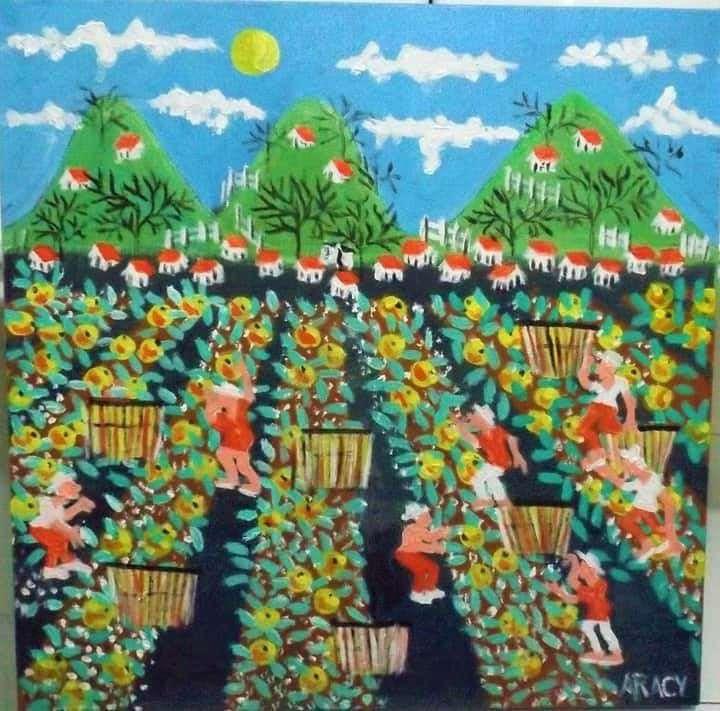 Imagen aracy artista naif tema colheita de melão medida 40x40